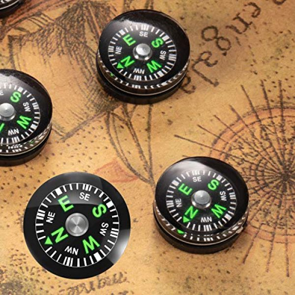 BBTO Survival Compass 7 200 Pieces Button Compass Mini Black Survival Compass Oil Filled Compass for Camping Hiking Boating Touring
