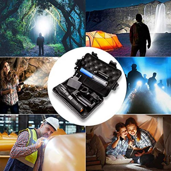 Airand Survival Flashlight 6 Airand LED Tactical Flashlight 3000 Lumen Rechargeable LED Flashlight Torch Flashlight 18650 Battery Charger, Zoomable, 5 Modes, Waterproof Handheld Light Spotlight For Outdoor, Camping, Hiking