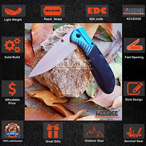 KCCEDGE BEST CUTLERY SOURCE  3 KCCEDGE BEST CUTLERY SOURCE EDC Pocket Knife Camping Accessories Razor Sharp Edge Folding Knife Camping Gear Survival Kit 57819
