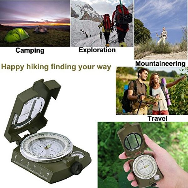 Anyow Survival Compass 5 Outdoor Survival Compass Multifunctional Military Map Sighting Lensatic Compass, Waterproof and Shakeproof for Adventure Hiking Camping with Pouch