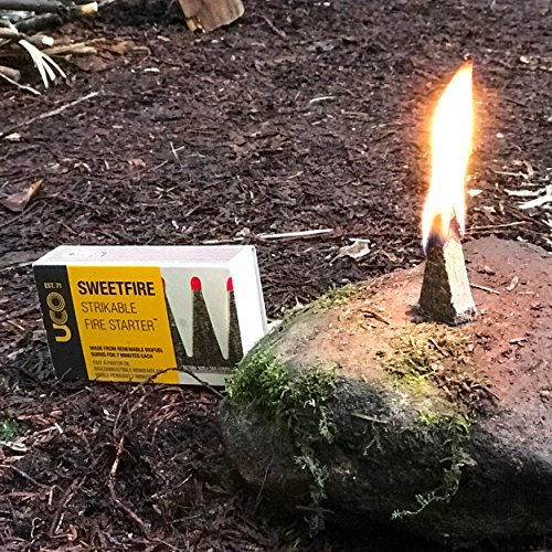 UCO Survival Fire Starter 4 UCO Sweetfire Biofuel Fire Starters for Camping, Backpacking, and Emergency Preparedness, Strikeable, 20 Pieces