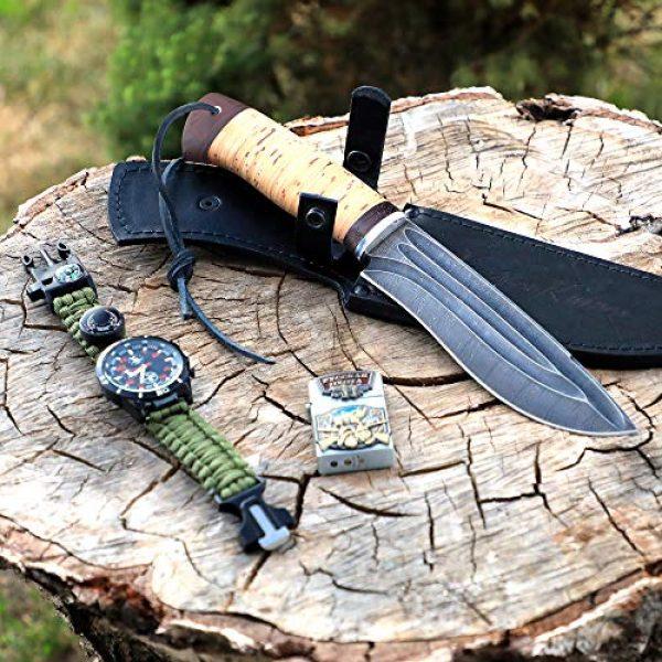 Nazarov Knives Fixed Blade Survival Knife 6 Hunting Knife - Damascus Knife - Birchbark Handle Siberian w/Fullers - Fixed Blade Knife