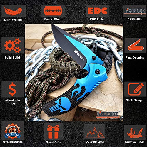 KCCEDGE BEST CUTLERY SOURCE  3 KCCEDGE BEST CUTLERY SOURCE EDC Pocket Knife Camping Accessories Razor Sharp Edge Flame Skull Folding Knife Camping Gear Survival Kit 58403