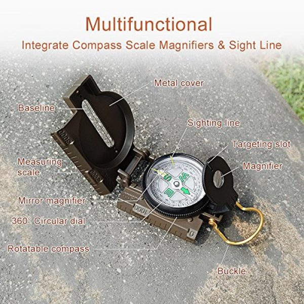 Eaggle Survival Compass 6 Multifunctional Military Compass, Amy Green, Waterproof and Shakeproof, Compass for Outdoor, Camping, Hiking, Military Usage