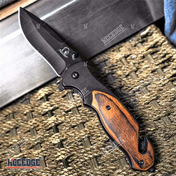 KCCEDGE BEST CUTLERY SOURCE Folding Survival Knife 2 KCCEDGE BEST CUTLERY SOURCE Pocket Knife Camping Accessories Survival Kit Razor Sharp 8 Inch Tactical Knife Glass Breaker Cord Cutter Hunting Knife Camping Gear 78081