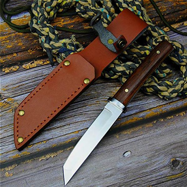 Promithi Fixed Blade Survival Knife 6 Promithi Fixed Blade with Leather Sheath Wooden Handle Japanese 9CR 18MOV Outdoor Fishing Knife Jungle Hunting Knife Camping Tactical Wood Working Knife