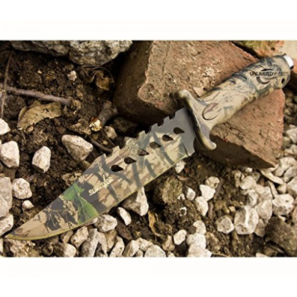 Master Cutlery Fixed Blade Survival Knife 5 Unlimited Wares HK-1037S Camo Outdoor Fixed Blade Knife 10.5-Inch Overall