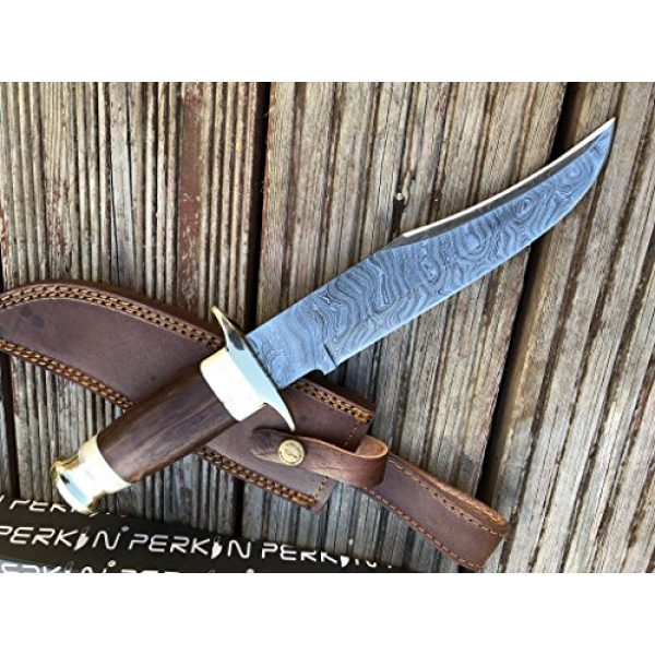 Perkin Fixed Blade Survival Knife 2 Perkin Knives - Damascus Steel Hunting Knife - Bowie Fixed Blade Knives
