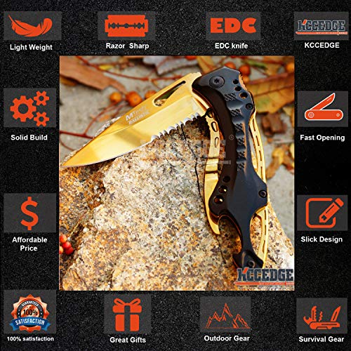 KCCEDGE BEST CUTLERY SOURCE  3 KCCEDGE BEST CUTLERY SOURCE Pocket Knife Camping Accessories Survival Kit Razor Sharp Survival Folding Knife w/Bottle Opener & Screw Driver Camping Gear EDC 55495