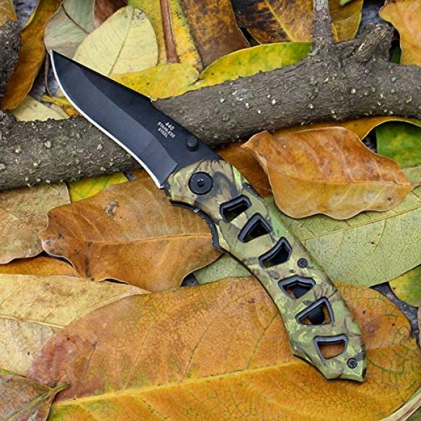BaiYing Folding Survival Knife 4 BaiYing Folding Pocket Knife, Camo Camouflage Good Survival Knife for Camping and Outdoor Activities, High Hardness Camping Hunting Knife for Hunting, Travels, Fishing