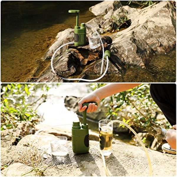 Purewell Survival Water Filter 5 Purewell Water Purifier Pump with Replaceable Carbon 0.01 Micron Water Filter, 4 Filter Stages, Portable Outdoor Emergency and Survival Gear - Camping, Hiking, Backpacking