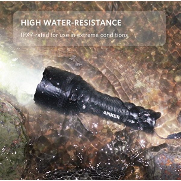 Anker Survival Flashlight 4 Anker Ultra-Bright Tactical Flashlight with 1300 Lumens, Rechargeable(26650 Battery Included), IPX7 Water-Resistant, Bolder LC130 LED with 5 Light Modes for Camping, Security, Emergency Use