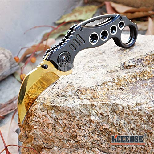 KCCEDGE BEST CUTLERY SOURCE  6 KCCEDGE BEST CUTLERY SOURCE Pocket Knife Camping Accessories Survival Kit Razor Sharp Karambit Survival Folding Knife Camping Gear EDC 55310 (Gold)
