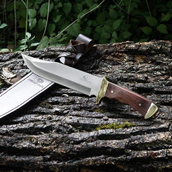 Mossy Oak Fixed Blade Survival Knife 7 MOSSY OAK 14-inch Bowie Knife, Full-tang Fixed Blade Wood Handle with Leather Sheath