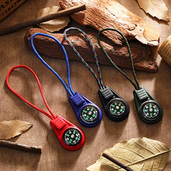 BBTO Survival Compass 4 BBTO 18 Pieces Multi-Color Mini Survival Compass Outdoor Camping Hiking Pocket Compass Liquid Filled Mini Compass on Cord for Emergency Survival Kits Watchband Paracord Bracelet Necklace Key Chain