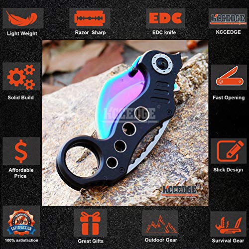 KCCEDGE BEST CUTLERY SOURCE  3 KCCEDGE BEST CUTLERY SOURCE Pocket Knife Camping Accessories Survival Kit Razor Sharp Karambit Survival Folding Knife Camping Gear EDC 55310 (Rainbow)