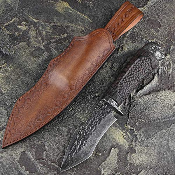 NEWOOTZ Fixed Blade Survival Knife 3 NEWOOTZ Handmade Damascus Steel Hunting Knife with Leather Sheath,Japanese VG10 Core 4.5in Tanto Fixed Blade,Ebony Wood Handle,Full Tang Survival Knives for Men Camping