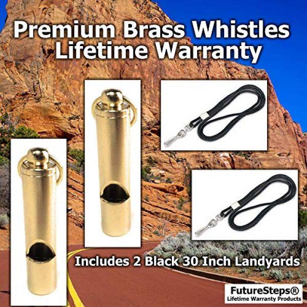 FUTURESTEPS Survival Whistle 3 FUTURESTEPS Premium Brass Whistles Set of 2 - Includes 2 Black Lanyard 30 Inches - Loud Survival Whistles - Solid Brass