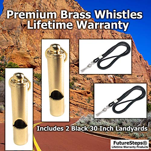 FUTURESTEPS  3 FUTURESTEPS Premium Brass Whistles Set of 2 - Includes 2 Black Lanyard 30 Inches - Loud Survival Whistles - Solid Brass