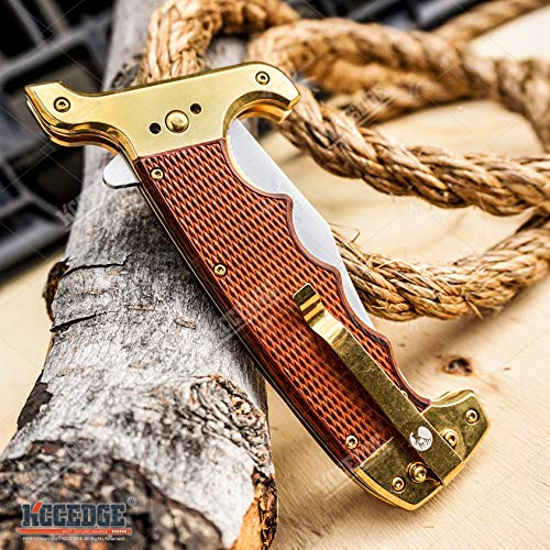 KCCEDGE BEST CUTLERY SOURCE  6 KCCEDGE BEST CUTLERY SOURCE Pocket Knife Camping Accessories Survival Kit Razor Sharp Clip Point Pakkawood Survival Folding Knife Camping Gear EDC 55600