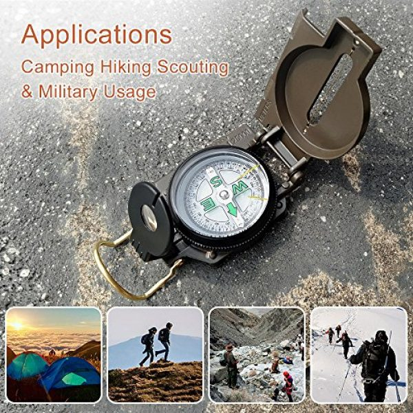 Eaggle Survival Compass 5 Multifunctional Military Compass, Amy Green, Waterproof and Shakeproof, Compass for Outdoor, Camping, Hiking, Military Usage