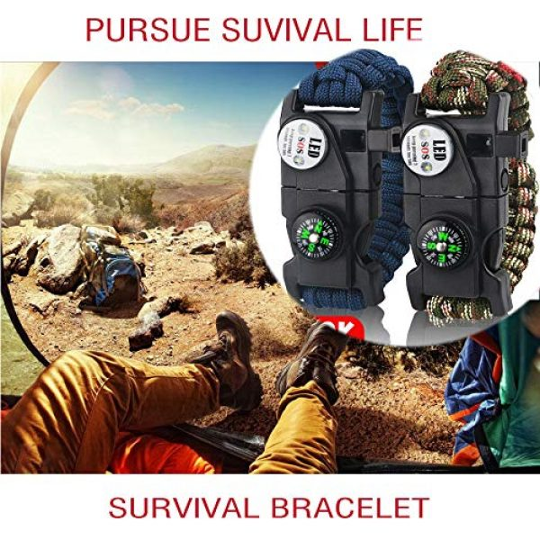 IMPHOM Survival Paracord Bracelet 3 IMPHOM Survival Bracelet Paracord Military Buckle Tool Adjustable Rope Accessories Kit, Fire Starter, Knife, Compass, LED Light,Whistle,for Fishing Hiking Travel Camp(2pcs)
