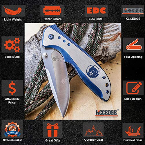 KCCEDGE BEST CUTLERY SOURCE  3 KCCEDGE BEST CUTLERY SOURCE EDC Pocket Knife Camping Accessories Razor Sharp Edge Wildlife Folding Knife Camping Gear Survival Kit 57376 (Wolf)