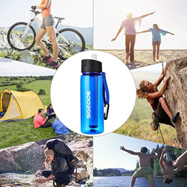 SGODDE Survival Water Filter 6 SGODDE Water Filter Bottles, Filtered Water Bottle with 4-Stage Integrated Filter Straw BPA Free for Hiking, Camping, Backpacking and Travel