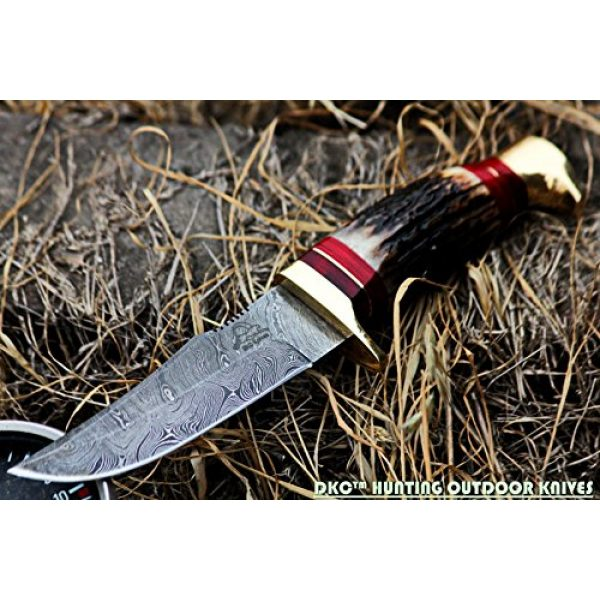 """DKC Knives Fixed Blade Survival Knife 4 DKC Knives (24 5/18) DKC-717 Bald Eagle Damascus Bowie Hunting Handmade Knife Stag Horn Fixed Blade 9.8oz 10"""" Long 5"""" Blade"""