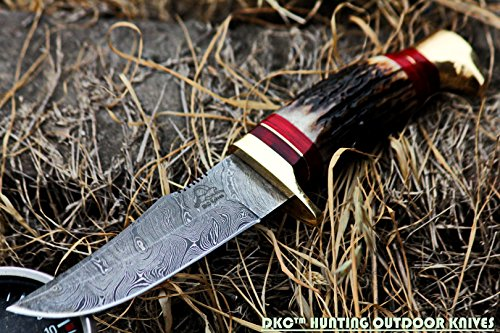 """DKC Knives  4 DKC Knives (24 5/18) DKC-717 Bald Eagle Damascus Bowie Hunting Handmade Knife Stag Horn Fixed Blade 9.8oz 10"""" Long 5"""" Blade"""