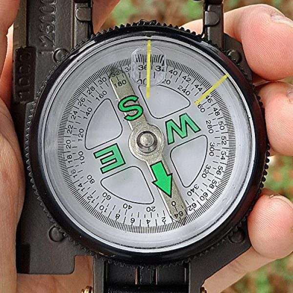 Eaggle Survival Compass 4 Multifunctional Military Compass, Amy Green, Waterproof and Shakeproof, Compass for Outdoor, Camping, Hiking, Military Usage