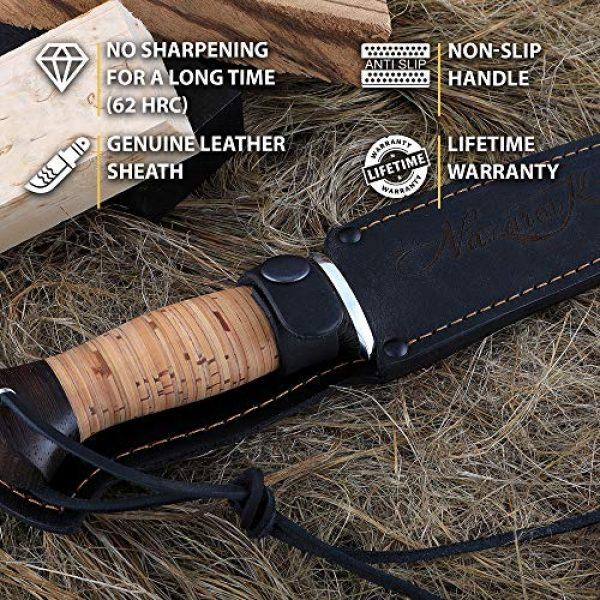 Nazarov Knives Fixed Blade Survival Knife 3 Damascus Steel Knife - Fixed Blade Knives - Real Damascus Hunting Knife - Birchbark - INFANTRYMAN Standard Edition - Leather Sheath