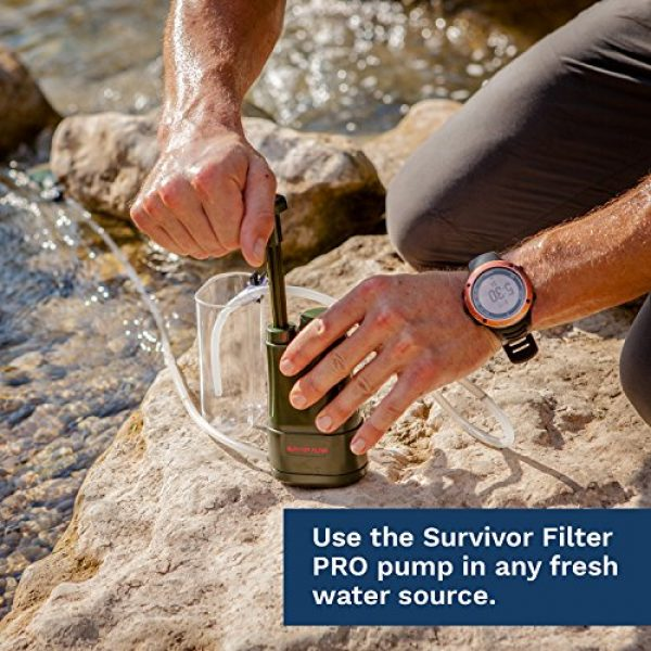 Survivor Filter Survival Water Filter 2 Survivor Filter PRO - Virus and Heavy Metal Tested 0.01 Micron Water Filter for Camping, Hiking, and Emergency. 3 Stages - 2 Cleanable 100,000L Membranes and a Carbon Filter for Family Preparedness