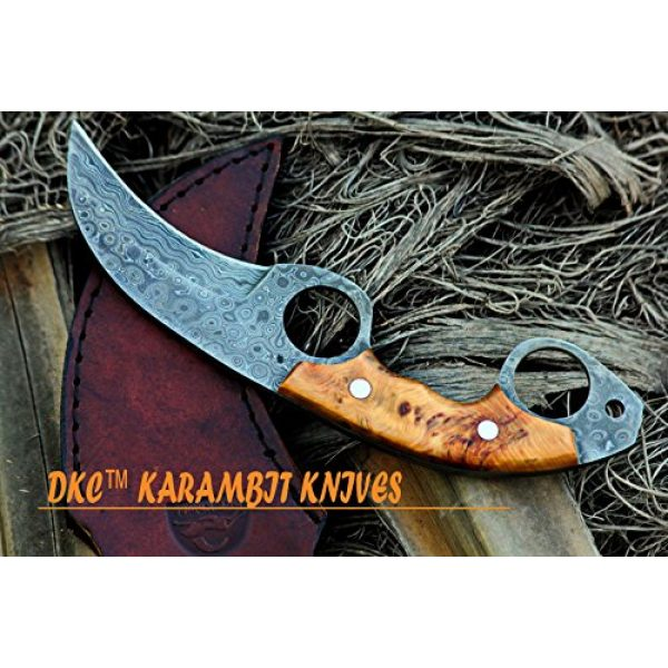 """DKC Knives Fixed Blade Survival Knife 5 DKC Knives (5 5/18) DKC-87-DS OWL Fox Damascus Steel Skinner Hunting Knife 8"""" Long 6.2oz High Class Looks Incredible Feels Great in Your Hand and Pocket Hand Made"""