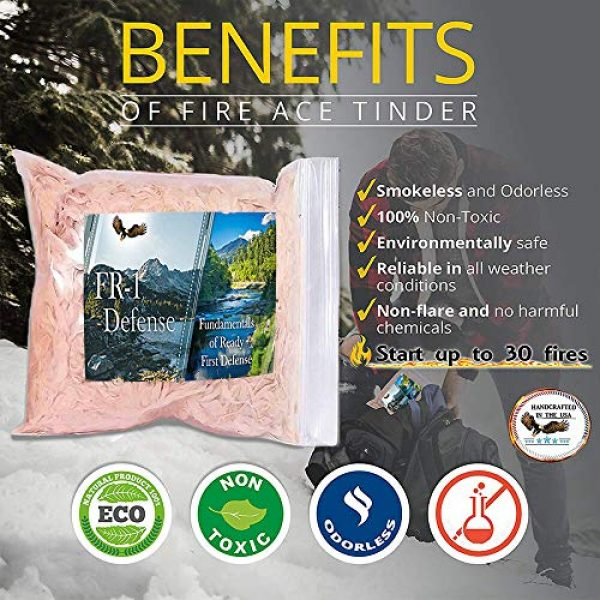 FR1 Defense Survival Fire Starter 4 Fire Ace Tinder. Fire Starting Tinder with Survival Guide Bonus!! Great for Camping Gear, Backpacking Accessories. Reliable Fire Tinder