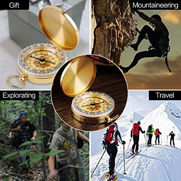 ydfagak Survival Compass 7 ydfagak Compass Premium Portable Waterproof Hiking Navigation Compass with Glow in The Dark Perfect for Camping Hiking and Other Outdoor Activities (Gold02)