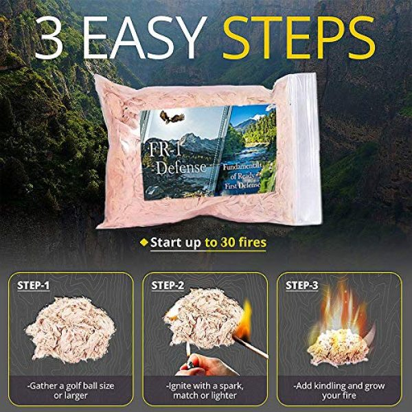 FR1 Defense Survival Fire Starter 3 Fire Ace Tinder. Fire Starting Tinder with Survival Guide Bonus!! Great for Camping Gear, Backpacking Accessories. Reliable Fire Tinder