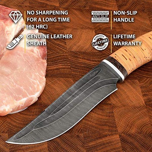 Nazarov Knives Fixed Blade Survival Knife 3 Hunting Knife KATRAN with Hammered Damascus Steel Fixed Blade for Survival, Buck Skinning, Fishing or Camping, Balanced Birchbark Handle, Leather Sheath