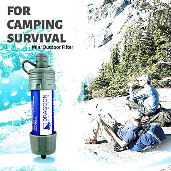 Dragoon Unlimited Survival Water Filter 4 Dragoon Unlimited Mini Camping & Survival Water Filter - Durable & Travel Size - Outdoor Emergency, Travel, Hiking Water Filtration Backpacking - 17 Oz Drinking Pouch & Cleaning Tool Included