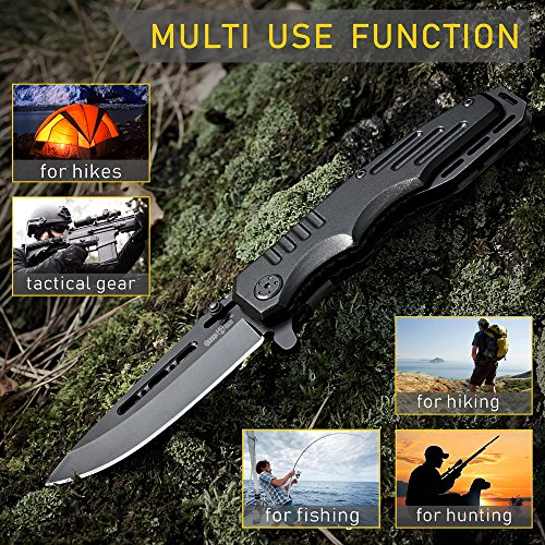 Grand Way  6 Spring Assisted Knife - Pocket Folding Knife - Military Style - Boy Scouts Knife - Tactical Knife - Good for Camping Hunting Survival Indoor and Outdoor Activities Mens Gift 6681
