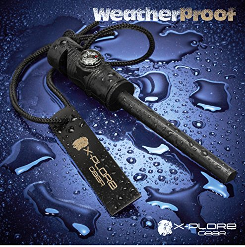 X-Plore Gear Survival Fire Starter 6 X-Plore Gear Firestarter - 3-in-1 Survival Multifunction Tool - Magnesium Fire Starter Rod, Magnetic Compass & Emergency Whistle - Ideal for Outdoor Camping & Disaster Supply Kits