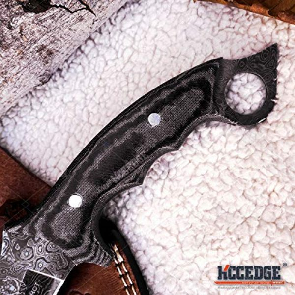 KCCEDGE BEST CUTLERY SOURCE Fixed Blade Survival Knife 3 Tactical Knife Survival Knife Hunting Knife Full Tang 250 LAYER DAMASCUS Fixed Blade Knife Razor Sharp Edge Camping Accessories Camping Gear Survival Kit Survival Gear 76025