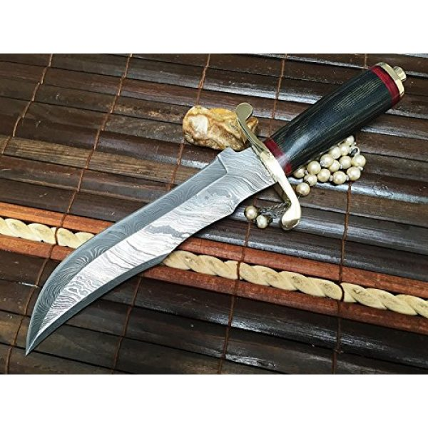 Perkin Fixed Blade Survival Knife 3 Perkin | 12 Inch Razor Sharp Fixed Blade Damascus Steel Bowie Knife | Full Tang Blade W/A High Grade Leather Sheat