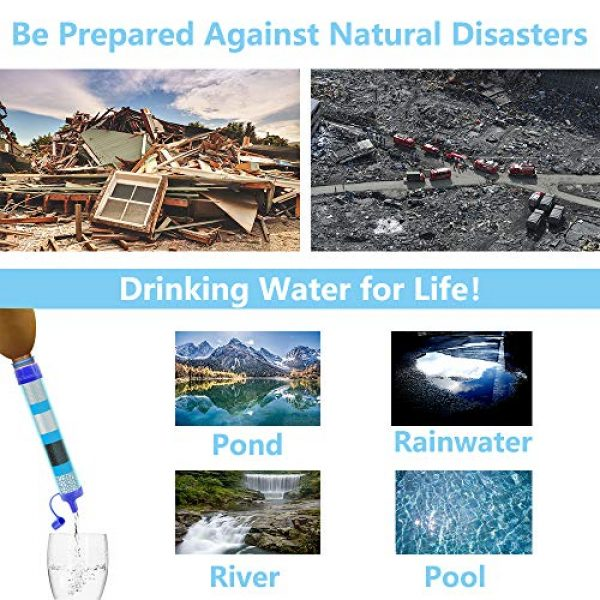 Lafiucy Survival Water Filter 5 Lafiucy Personal Water Filter, Mini Water Filtration System,Water Filter Straw for Drinking, Hiking, Camping, Travel, Portable Gear Emergency