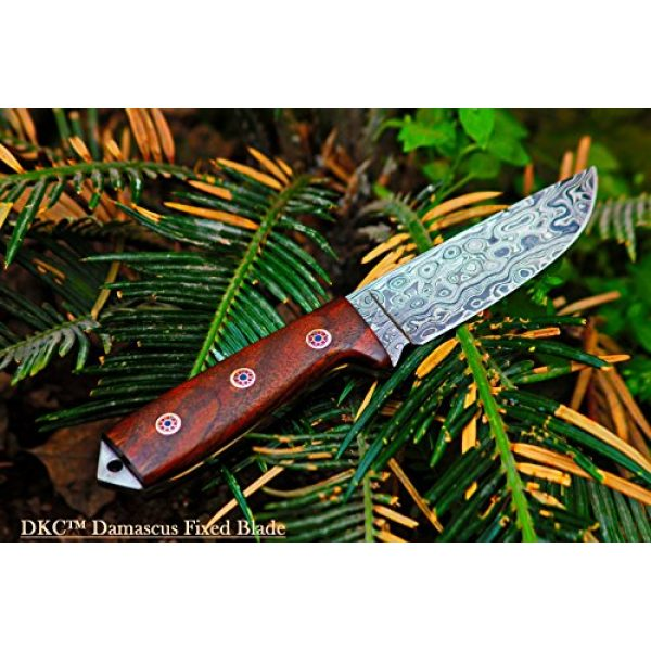 "DKC Knives Fixed Blade Survival Knife 5 Sale (33 5/18) DKC-73 Survival 1 Damascus Hunting Knife 8"" Long 4"" Blade 5.4 oz ! Walnut Handle"