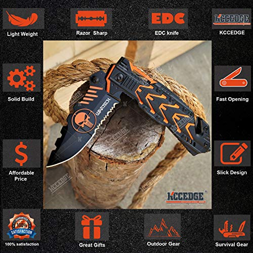 KCCEDGE BEST CUTLERY SOURCE  3 KCCEDGE BEST CUTLERY SOURCE EDC Pocket Knife Camping Accessories Razor Sharp Edge Skull Folding Knife Camping Gear Survival Kit 58014