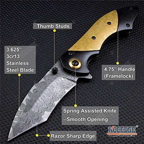 KCCEDGE BEST CUTLERY SOURCE  2 KCCEDGE BEST CUTLERY SOURCE EDC Pocket Knife Camping Accessories Razor Sharp Edge Tanto Recurve Folding Knife Camping Gear Survival Kit 57239
