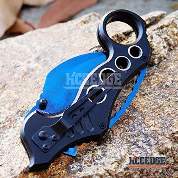KCCEDGE BEST CUTLERY SOURCE Folding Survival Knife 5 KCCEDGE BEST CUTLERY SOURCE Pocket Knife Camping Accessories Survival Kit Razor Sharp Karambit Survival Folding Knife Camping Gear EDC 55310 (Blue)