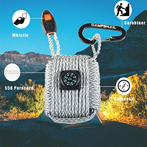 CAMPSNAIL  5 CAMPSNAIL Emergency Survival Kit Grenade - 25 Accessories First Aid Kit Survival Wrapped in 550 lb Paracord Survival Grenade Cord for Emergencies