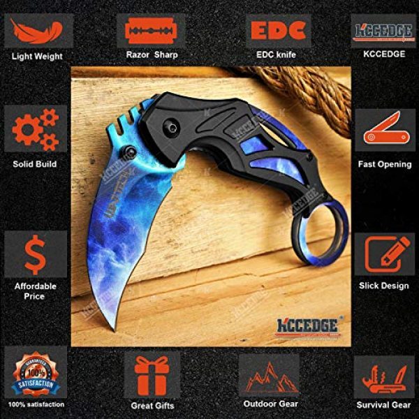 KCCEDGE BEST CUTLERY SOURCE Folding Survival Knife 3 KCCEDGE BEST CUTLERY SOURCE Pocket Knife Camping Accessories Survival Kit Razor Sharp 7 Inch Karambit Tactical Knife Hunting Knife Camping Gear 78609